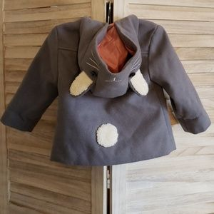 Toddler Peacoat with Pockets and Bunny Ear Hood
